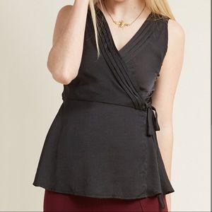 Modcloth Black Chic Sleeveless Wrap Top